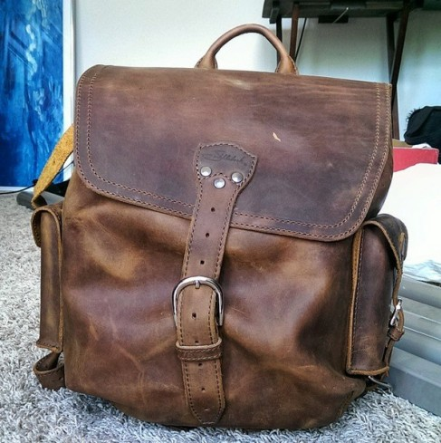 Medium Simple Backpack in Tobacco Saddleback Leather