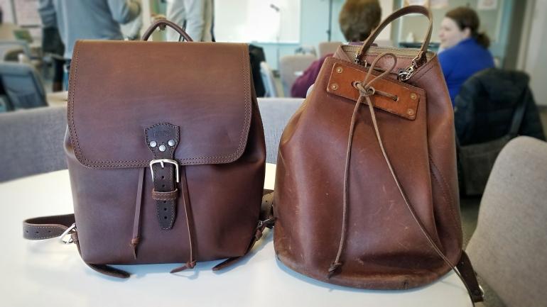 Saddleback Leather Drawstring Backpack and Bucket Backpack